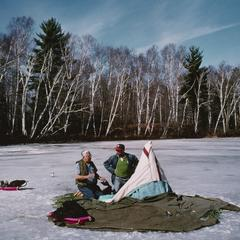Jim Leary and John Snow discuss ice-fishing on Sugarbush Lake