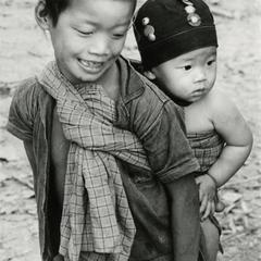 Children in the Akha village of Phate in Houa Khong Province