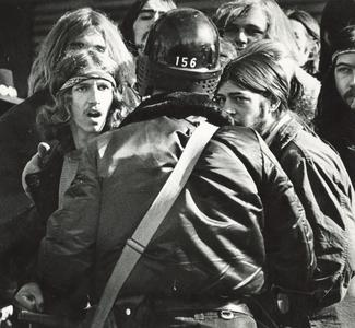 Students confronting police