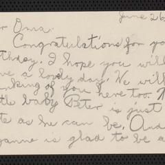 [Letter from Constance to her grandmother, Franziska Sternberger, June 26, 1928]