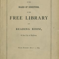 Annual report of the Board of Directors of the Free Library and Reading Room of the City of Madison