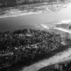 Aerial view of Luang Prabang depicting northern part of city at the junction of the Mekong and Khan Rivers