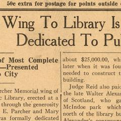 Newspaper article - Parcher Wing dedication April 18, 1929. Wausau Public Library