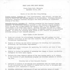 [Notes from the Great Lakes Deer Group Annual Meeting, 1961]