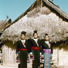 Three Blue Hmong (Hmong Njua) women in Houa Khong Province