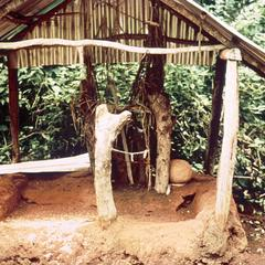 Juju Shrine with Items Such as Rice and Chicken Feathers