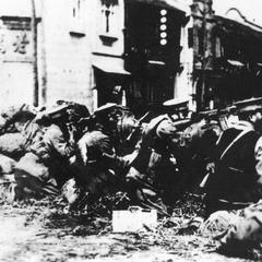 Chinese soldiers holding their line.