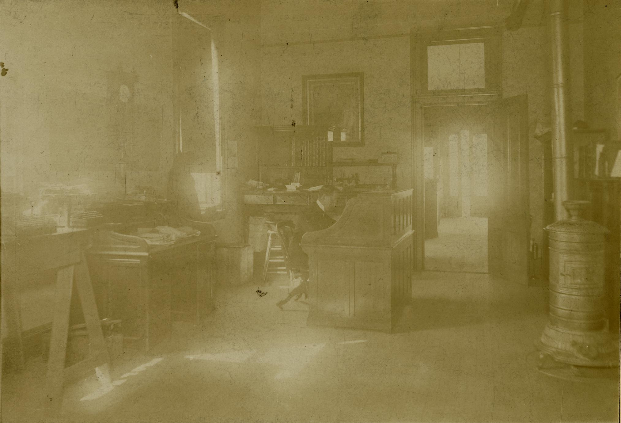 Zalmon G. Simmons' secretary inside his office