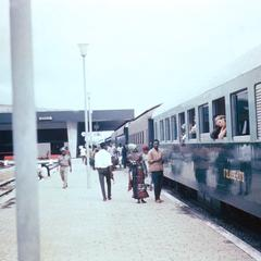 West German Train Pulling Out of Railroad Station