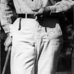 Aldo Leopold with cane and binoculars