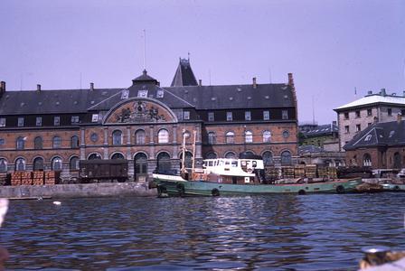 Cargo barge in Danish harbor