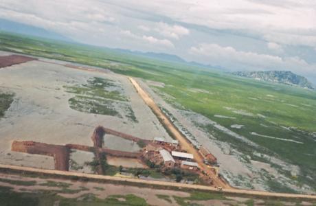Landing between the rice fields