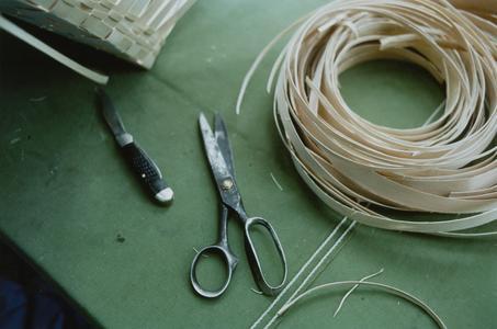 Bertha Blackdeer's black ash splints and tools for basket making