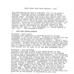 [Notes from the Great Lakes Deer Group Annual Meeting, 1989]