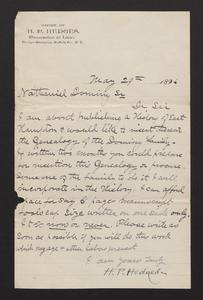 Letter, from H.P. Hedges to Nathaniel VII