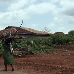 Woman carrying sticks in Iloko