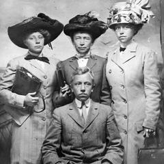 Frederic Leopold with Lilian Johnson, Clara Leopold, and Marie Leopold