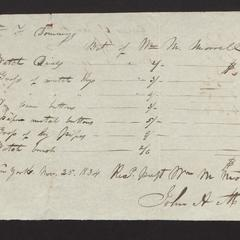 Bill and receipt from William Morrell to Felix Dominy, 1834