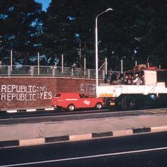 African National Congress (ANC) Slogan on Jan Smuts Avenue, Johannesburg, During Month of Anti-Republic Activities