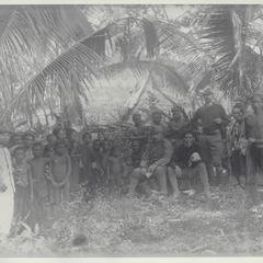 Native Moros with U.S. officers, including Captain Finley, Mindanao, 1899-1901