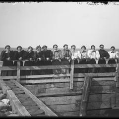 Kemper Hall Class of 1896 on pier laughing