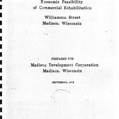 Economic feasibility of commercial rehabilitation : Williamson Street, Madison, Wisconsin