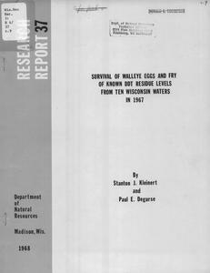 Survival of walleye eggs and fry of known DDT residue levels from ten Wisconsin waters in 1967
