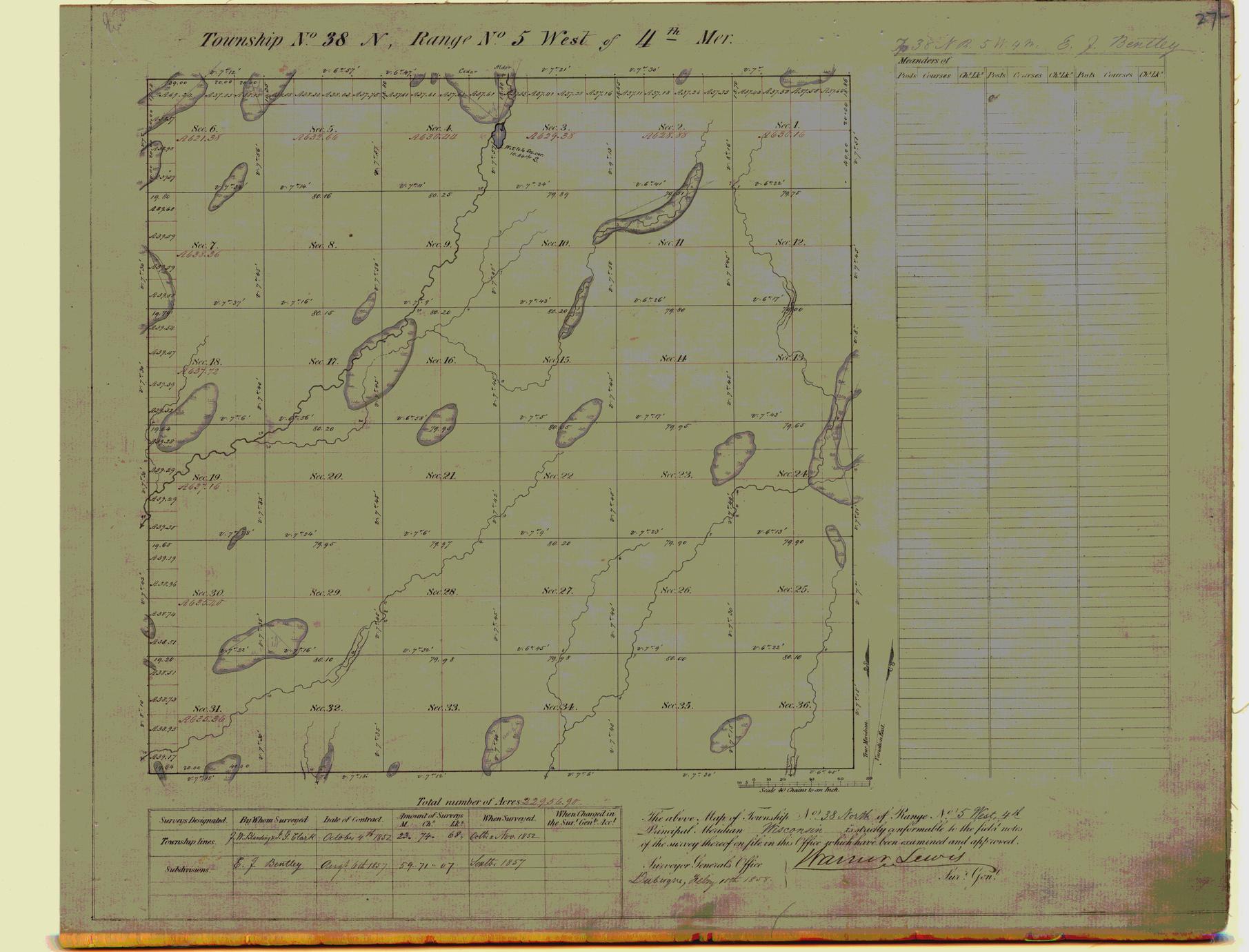 [Public Land Survey System map: Wisconsin Township 38 North, Range 05 West]