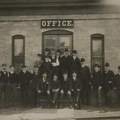 Chicago Brass Company employees outside the main office