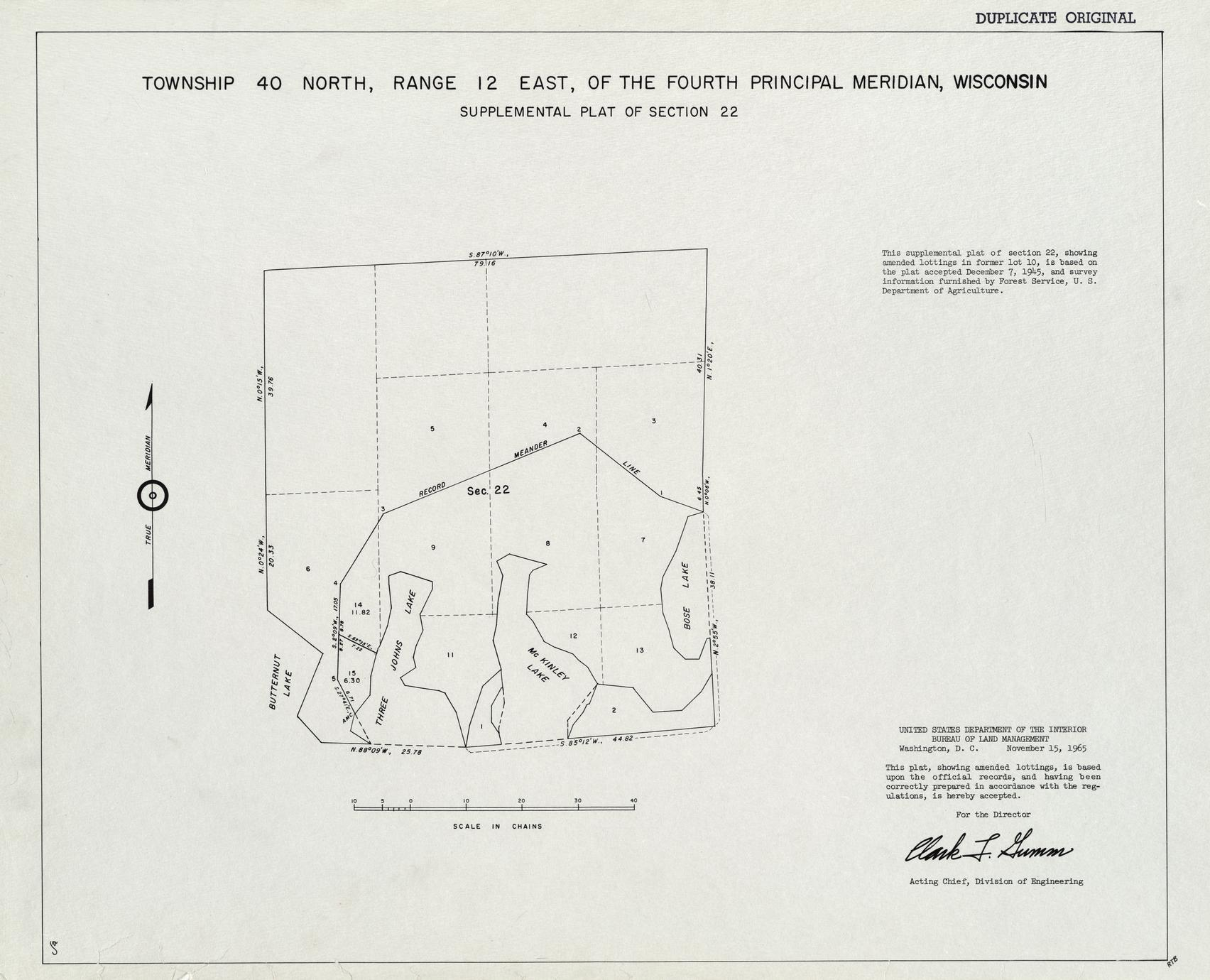 [Public Land Survey System map: Wisconsin Township 40 North, Range 12 East]