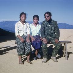 Ethnic Pong (Phong) girls with military commander