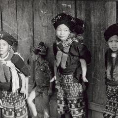 Yao (Iu Mien) boys and girls in the town of Nam Kheung in Houa Khong Province