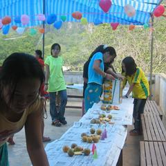 School girls preparing snacks