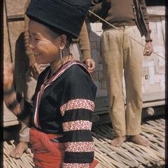 Striped Hmong (Meo Lai) women at airfield : detail