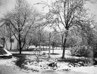 Snow covered yard in Burlington