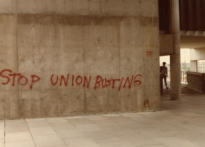 """Stop union busting"" graffiti on Mosse Humanities building"