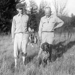Woodcock hunting with Fred Greeley and dog, Gus, 1946