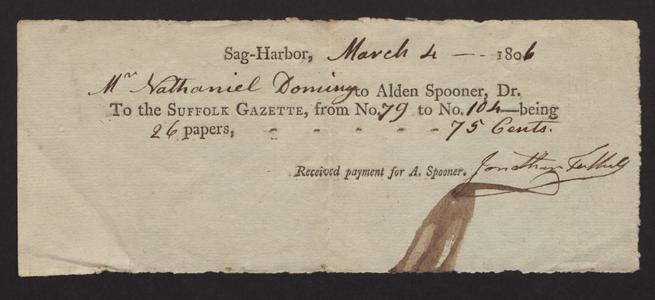 Receipt, 1806