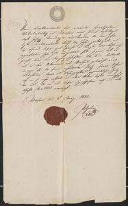 [Reference letter for Joseph Sternberger, March 4, 1843]