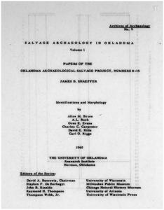 Salvage archaeology in Oklahoma. Volume 1, Papers of the Oklahoma Archaeological Salvage Project, numbers 8-15