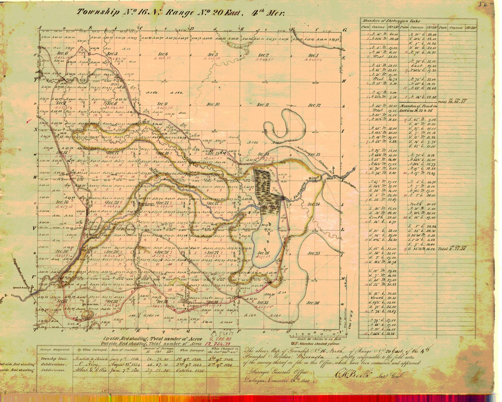 [Public Land Survey System map: Wisconsin Township 16 North, Range 20 East]