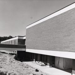 Rear of campus classroom building during early construction