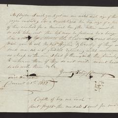 Order from Felix Dominy to Mr. Dayton, 1828