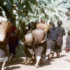 Khmu' women on their way to their fields in Houa Khong Province
