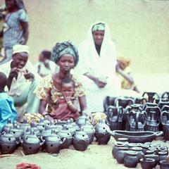 Hausa Potter Selling Her Finished Wares in Mirria
