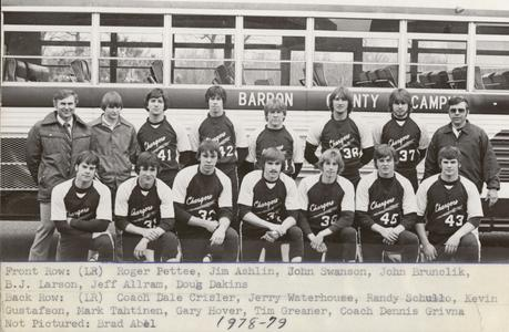 UW Center Barron County baseball team
