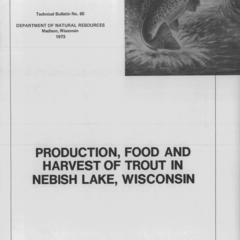 Production, food and harvest of trout in Nebish Lake, Wisconsin