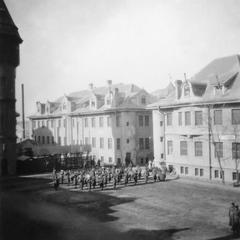 Regimental band of the US Army's 15th Infantry Regiment on the parade ground.