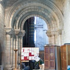 Worcester Cathedral St John's Chapel to south transept Norman arch
