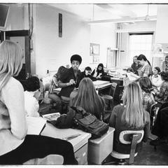 Marion Brown teaching a draping class